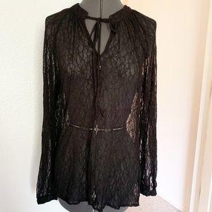 Bellatrix black lace long sleeve shirt top